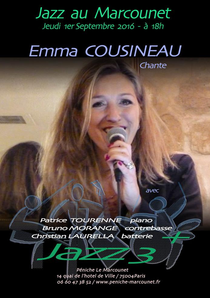 Flyer - Emma Cousineau & Jazz 3+ - 1 Sept 2016